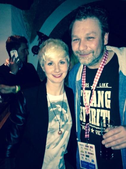 Eimear with Mathias Roska, Andreas Gabalier's producer. Feb 2014