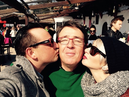 """Having an """"intimate moment"""" with """"Sportily"""" owner Charles Seyrling. March, 2015. Haha!"""